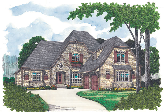 European House Plan Front Image 129D-0020