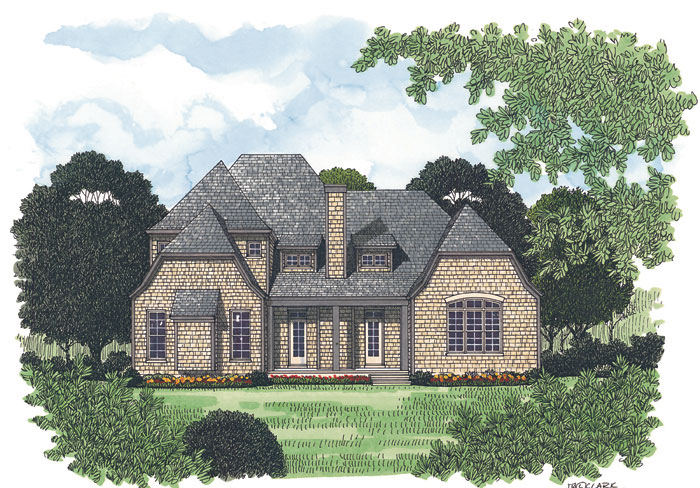 European House Plan Color Image of House 129D-0020