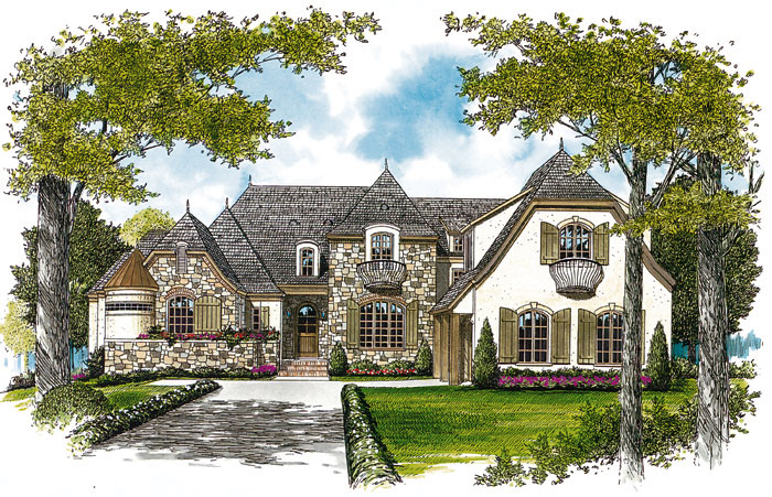 Luxury House Plan Front Image 129S-0003