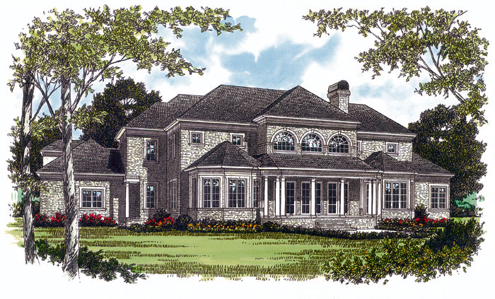 Luxury House Plan Color Image of House - 129S-0004 | House Plans and More