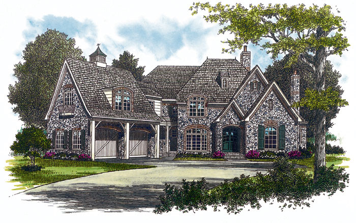English Cottage Plan Front Image 129S-0005