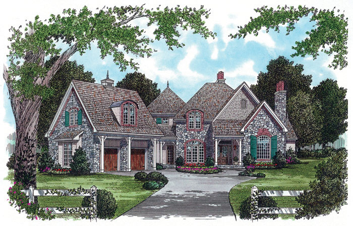 English Cottage Plan Front Image 129S-0018