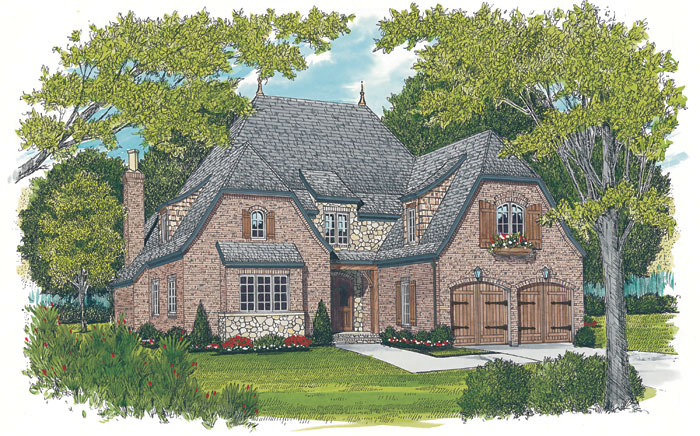 English Cottage Plan Front Image 129S-0021