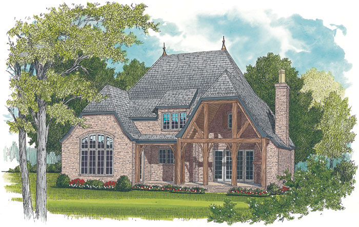 English Cottage Plan Color Image of House 129S-0021