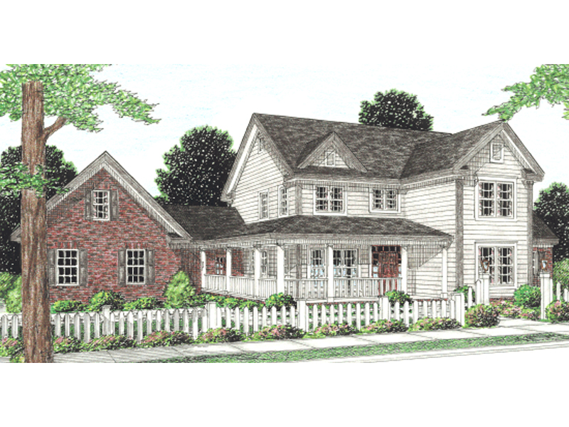 Drew country home plan 130d 0141 house plans and more for L shaped house front porch