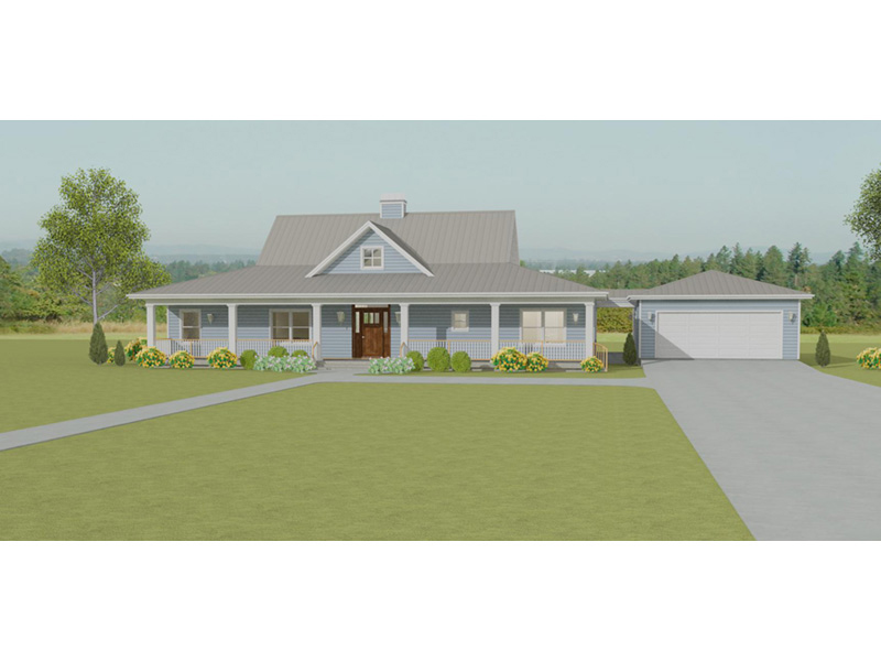 Ranch House Plan Front of Home - 135D-0007 | House Plans and More