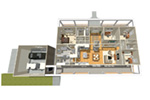 Acadian House Plan 3D First Floor - 135D-0008 | House Plans and More
