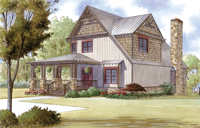 Craftsman House Plan Front of Home - 155D-0016 | House Plans and More